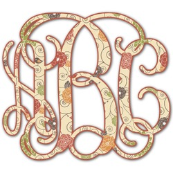 Fall Flowers Monogram Decal - Custom Sizes (Personalized)