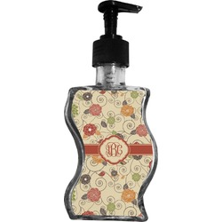 Fall Flowers Wave Bottle Soap / Lotion Dispenser (Personalized)