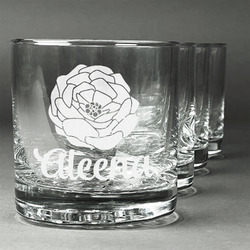 Fall Flowers Whiskey Glasses (Set of 4) (Personalized)