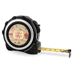 Chevron & Fall Flowers Tape Measure - 16 Ft (Personalized)
