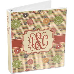 Chevron & Fall Flowers 3-Ring Binder (Personalized)