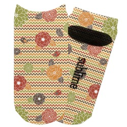 Chevron & Fall Flowers Adult Ankle Socks (Personalized)