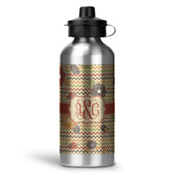 Chevron & Fall Flowers Water Bottle - Aluminum - 20 oz (Personalized)