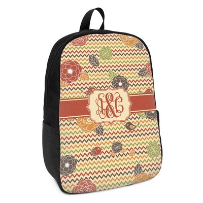 Chevron & Fall Flowers Kids Backpack (Personalized)
