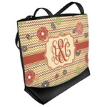 Chevron & Fall Flowers Beach Tote Bag (Personalized)