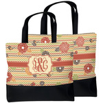 Chevron & Fall Flowers Beach Tote Bag (Personalized)