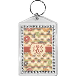 Chevron & Fall Flowers Bling Keychain (Personalized)