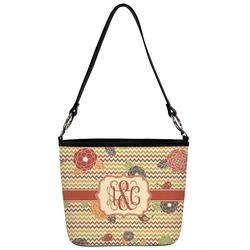 Chevron & Fall Flowers Bucket Bag w/ Genuine Leather Trim (Personalized)