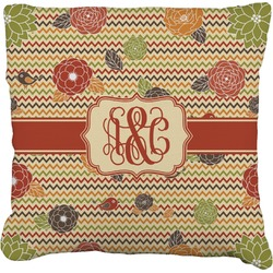 """Chevron & Fall Flowers Faux-Linen Throw Pillow 16"""" (Personalized)"""