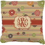Chevron & Fall Flowers Faux-Linen Throw Pillow (Personalized)
