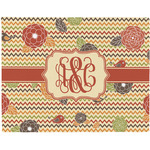 Chevron & Fall Flowers Woven Fabric Placemat - Twill w/ Couple's Names