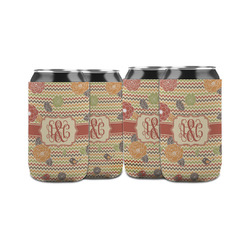 Chevron & Fall Flowers Can Sleeve (12 oz) (Personalized)