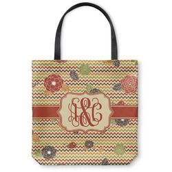 Chevron & Fall Flowers Canvas Tote Bag (Personalized)