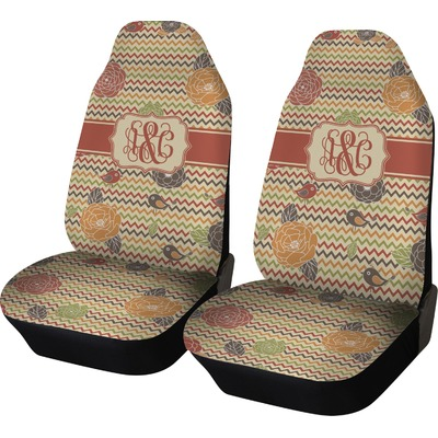 Chevron & Fall Flowers Car Seat Covers (Set of Two) (Personalized)