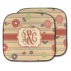 Chevron & Fall Flowers Car Sun Shade - Two Piece (Personalized)