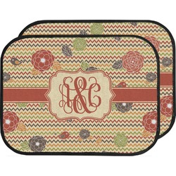 Chevron & Fall Flowers Car Floor Mats (Back Seat) (Personalized)