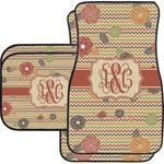 Chevron & Fall Flowers Car Floor Mats (Personalized)