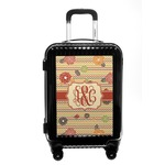 Chevron & Fall Flowers Carry On Hard Shell Suitcase (Personalized)