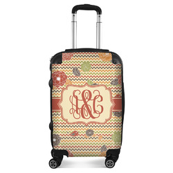 Chevron & Fall Flowers Suitcase (Personalized)