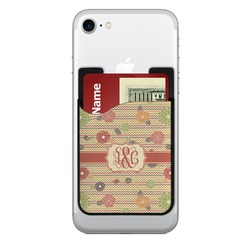 Chevron & Fall Flowers 2-in-1 Cell Phone Credit Card Holder & Screen Cleaner (Personalized)
