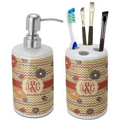 Chevron & Fall Flowers Bathroom Accessories Set (Ceramic) (Personalized)