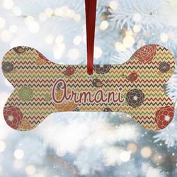 Chevron & Fall Flowers Ceramic Dog Ornaments w/ Couple's Names