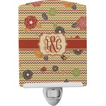 Chevron & Fall Flowers Ceramic Night Light (Personalized)