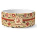 Chevron & Fall Flowers Ceramic Dog Bowl (Personalized)