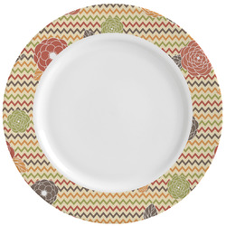 Chevron & Fall Flowers Ceramic Dinner Plates (Set of 4) (Personalized)