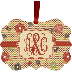 Chevron & Fall Flowers Ornament (Personalized)