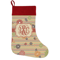 Chevron & Fall Flowers Holiday / Christmas Stocking (Personalized)