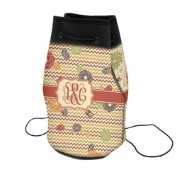 Chevron & Fall Flowers Neoprene Drawstring Backpack (Personalized)