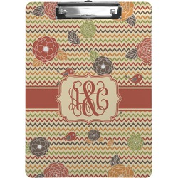 Chevron & Fall Flowers Clipboard (Personalized)