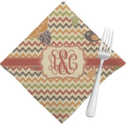Chevron & Fall Flowers Napkins (Set of 4) (Personalized)