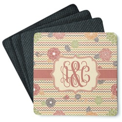 Chevron & Fall Flowers 4 Square Coasters - Rubber Backed (Personalized)