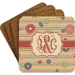 Chevron & Fall Flowers Coaster Set w/ Stand (Personalized)