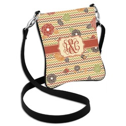 Chevron & Fall Flowers Cross Body Bag - 2 Sizes (Personalized)