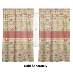 "Chevron & Fall Flowers Curtains - 40""x84"" Panels - Unlined (2 Panels Per Set) (Personalized)"