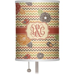"Chevron & Fall Flowers 7"" Drum Lamp Shade (Personalized)"