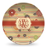 Chevron & Fall Flowers Microwave Safe Plastic Plate - Composite Polymer (Personalized)