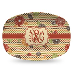 Chevron & Fall Flowers Plastic Platter - Microwave & Oven Safe Composite Polymer (Personalized)