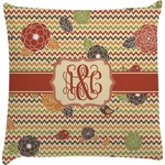 Chevron & Fall Flowers Decorative Pillow Case (Personalized)