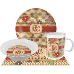 Chevron & Fall Flowers Dinner Set - 4 Pc (Personalized)