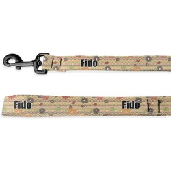 Chevron & Fall Flowers Deluxe Dog Leash (Personalized)