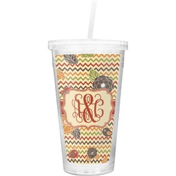 Chevron & Fall Flowers Double Wall Tumbler with Straw (Personalized)