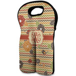 Chevron & Fall Flowers Wine Tote Bag (2 Bottles) (Personalized)