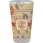 Chevron & Fall Flowers Drinking / Pint Glass (Personalized)