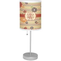 "Chevron & Fall Flowers 7"" Drum Lamp with Shade (Personalized)"