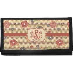 Chevron & Fall Flowers Canvas Checkbook Cover (Personalized)