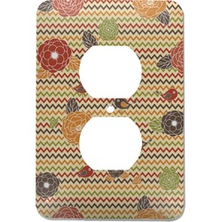 Chevron & Fall Flowers Electric Outlet Plate (Personalized)